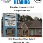 Public Hearing scheduled for 2-21-2019